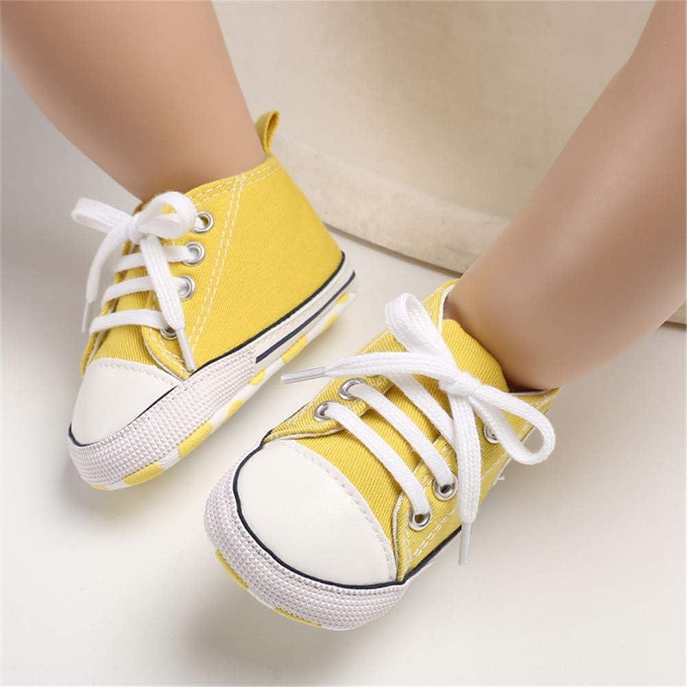 Zapatillas de lona para beb/é con suela suave y cordones para ni/ños y ni/ñas informales Babycute primeros pasos