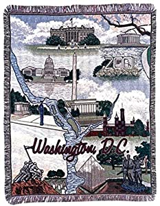 """Washington D.C. Pictorial Tapestry Throw Afghan 50"""" x 60"""""""