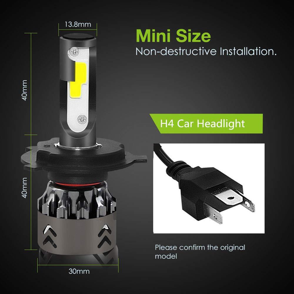 Amazon.com: wsiiroon H4 LED Headlight Bulb - Super Bright COB Chips - 60W 7000K 9000LM Cool White - Hi/Lo Beam/Fog Light Bulbs (2 Pack: Automotive