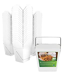 Takeout Food Container with Handle 16 Oz Microwaveable Kraft White Paper Chinese Take Out Box (50 Pack) Leak and Grease Resistant Stackable To Go Boxes - Recyclable Food Containers - Party Favor Boxes