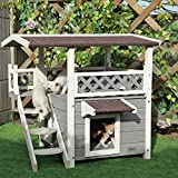 """Petsfit 2-Story Outdoor Weatherproof Cat House/Condo/Shelter with Stair 30""""x22""""x29"""""""