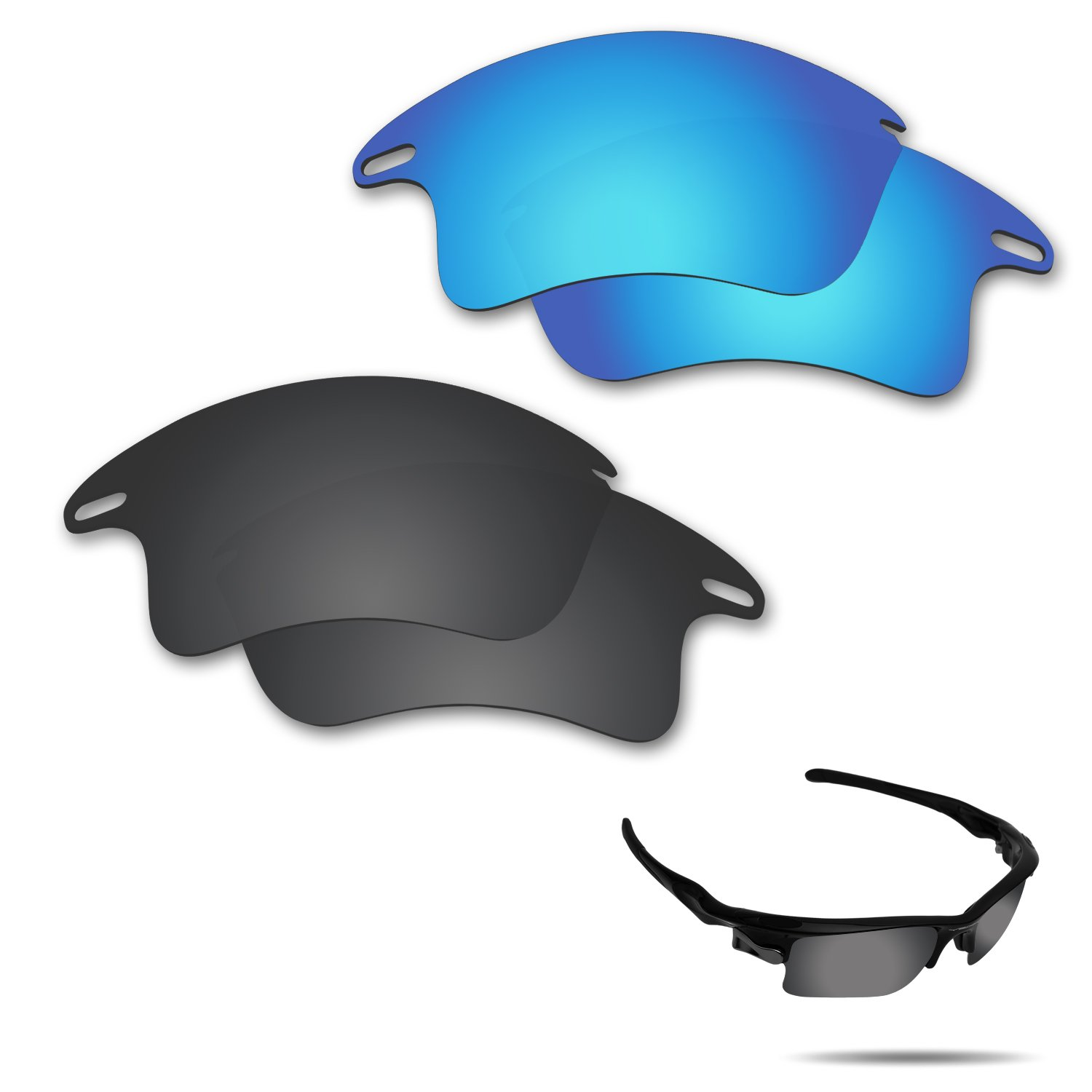 Fiskr Anti-Saltwater Polarized Replacement Lenses for Oakley Fast Jacket XL Sunglasses 2 Pairs Packed (Stealth Black & Ice Blue)