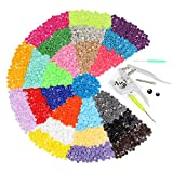 FISTE Snap Pliers + 375 Set T5 Poppers Plastic Buttons Plier Studs Fasteners 25 Colors for DIY Studs