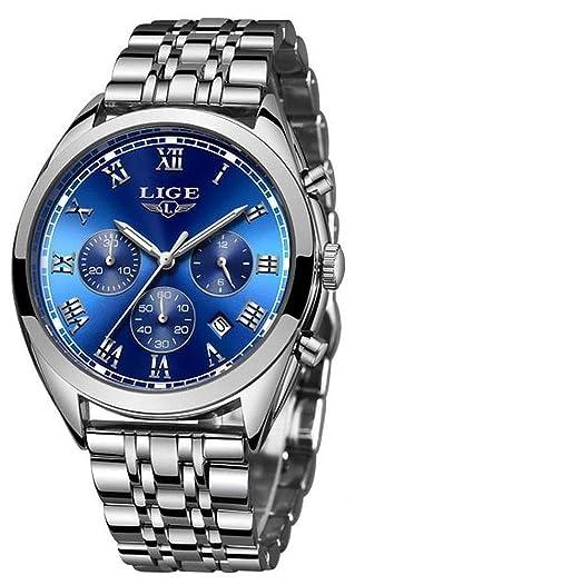 LIGE 9852 - Reloj analógico de Cuarzo con Correa de Acero Inoxidable para Hombre: Amazon.es: Relojes
