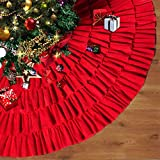 Depps Christmas Tree Skirt 48 Inches Red Burlap Ruffled with Ribbon Bowknot Xmas Tree Ornament Holiday Decoration New Year Party Supply (Red)