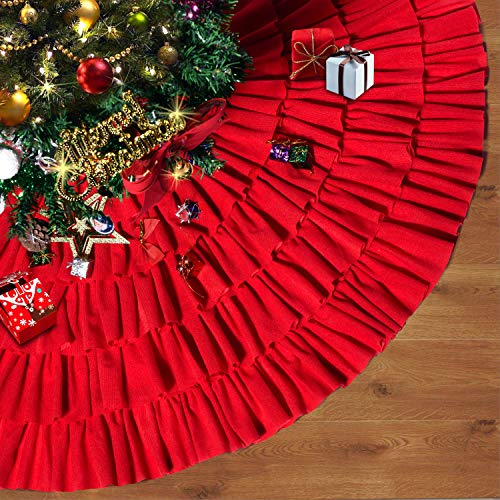 Depps Christmas Tree Skirt 48 Inches Red Burlap Ruffled with Ribbon Bowknot Xmas Tree Ornament Holiday Decoration New Year Party Supply ()