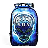 Runningtiger Unique Skull Print Students School Backpacks for Teenage Boys Girls Laptop Bags (DJ Skull) Review