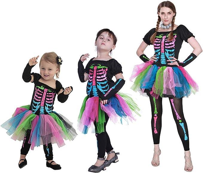 Madre e Hija Halloween Disfraz 3 Piezas, Niñas Vestido + Leggings ...