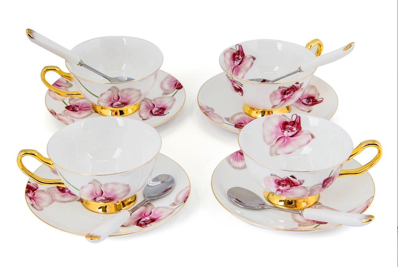 Porcelain Tea Cup and Saucer Coffee Cup Set with Saucer and Spoon 8 oz Set of 4 (Phalaenopsis Orchid)