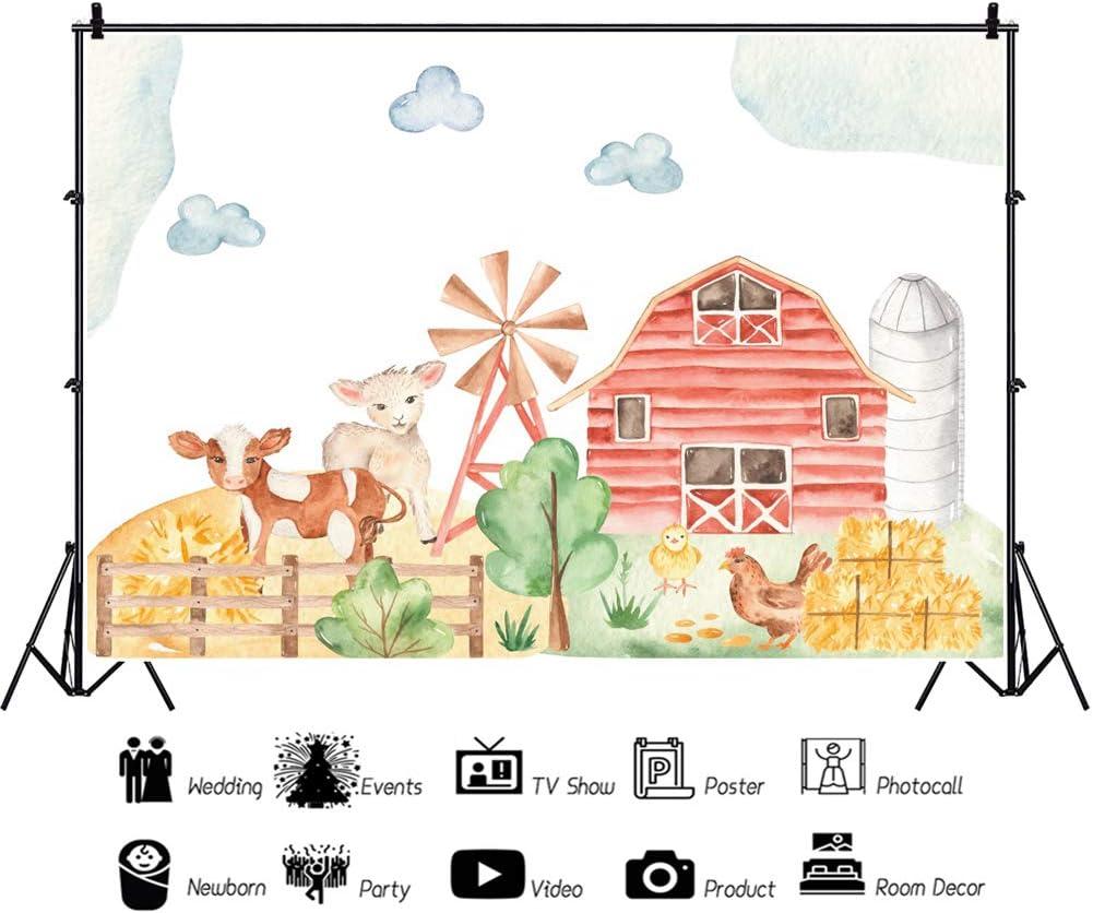 Leowefowa Farm Livestock Wild One Birthday Backdrop for Photography 5x3ft Red Barn Haystacks Hen Cattle Sheep Illustration Vinyl Background Child Kids Baby Birthday Party Banner Baby Shower Props
