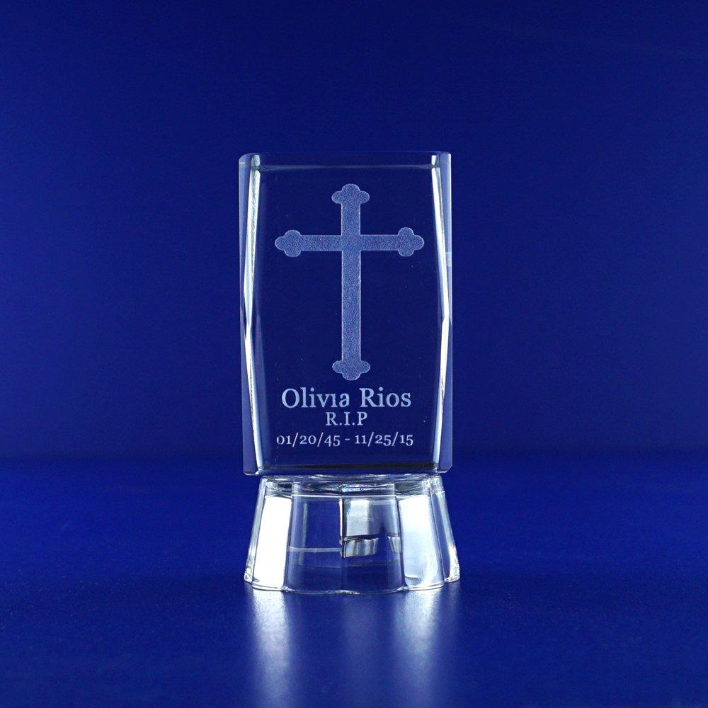 3D Crystal Crucifix Cross (12PCS) Personalized laser Engraving Jesus Catholic Tradition Sacrifice Christian Confirmation 028L (2.5''H)