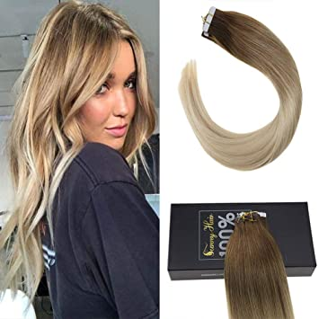 Amazon Com Sunny Tape In Human Hair Extensions 14 Chestnut Brown