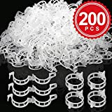 LEOBRO 200PCS Plant Support Clips, Garden Support Clips for Flower Vine Twine Tomato Orchid to Grow Uprightly and Healthily, White, 1 Inch in Inside Diameter