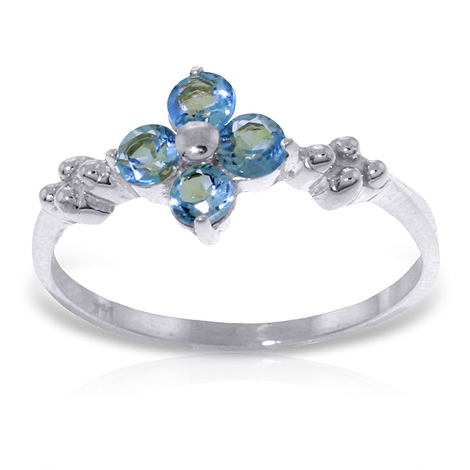 ALARRI 0.58 Carat 14K Solid White Gold If You Love Blue Topaz Ring With Ring Size 5