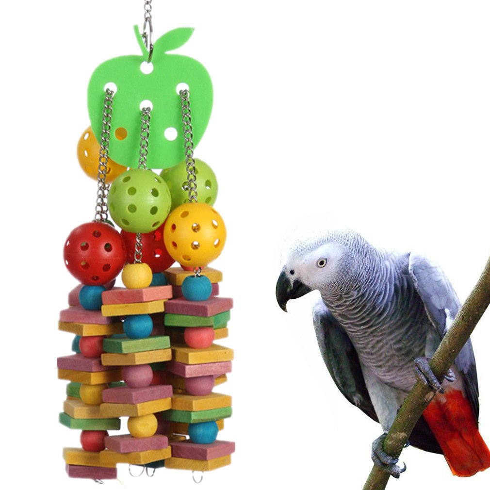yoyoung Natural and Colorful Knots Block Birds Parrot Chewing Toys (Wood Knots and Ball Bird Toy) ¡