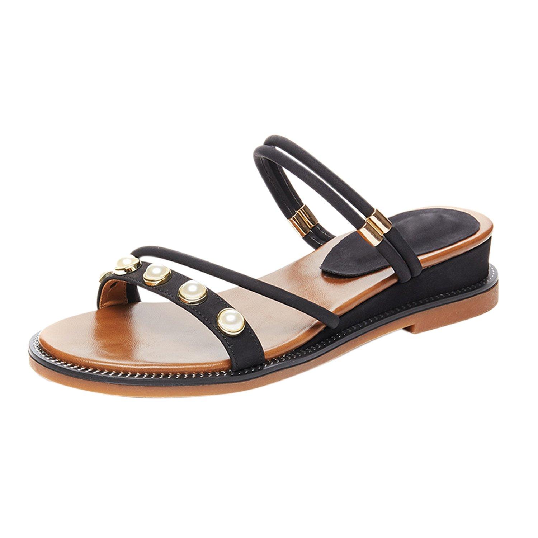 Frestepvie Femmes Bohème Floral Sandales Plage Chaussures Sandale Plate-Forme Accueil Tongs Pantoufles FRE2320SB-37-FR0627