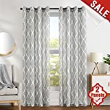 "jinchan Grey Moroccan Tile Print Curtains for Bedroom Curtain - Quatrefoil Flax Linen Blend Textured Geometry Lattice Grommet Window Treatment Set for Living Room - 50"" W x 63"" L - (2 Panels)"