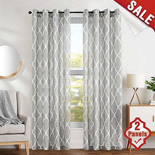 "jinchan Quatrefoil Linen Blend Curtains - Moroccan Tile Pattern Print Curtain Window Curtain Panels for Living Room Geometry Lattice - 50"" W x 84"" L - (Gray, Set of 2 Panels)"