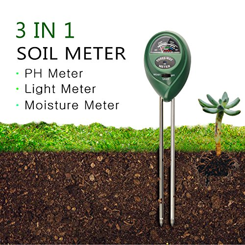 Soil pH Meter by FindUWill, 3 in 1 Soil Test Kit for Moisture, Light & pH/Acidity, Gardening Tools for Home and Garden, Lawn, Farm, Plants, Indoor & Outdoor Plant (No Battery Needed) (Green)