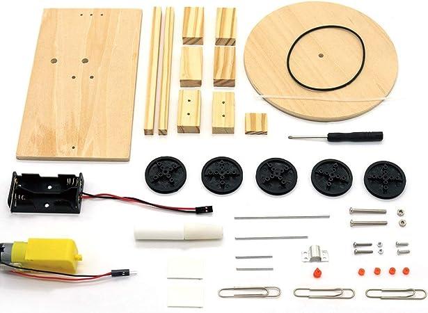 Jiobapiongxin DIY Electric Plotter Drawing Robot Kit Física Experimento científico Invenciones Creativas Montar Modelo de Juguete para niños (Color Madera)(JIO-S): Amazon.es: Juguetes y juegos