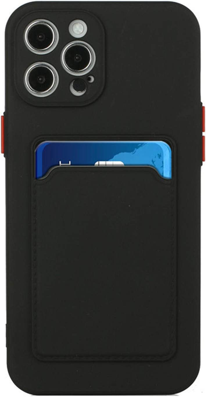 Silicone Wallet Case for iPhone XR - Slim Silicone Protective Case with Credit Card Holder Sleeve, Shockproof Wallet Card Pocket Cover for iPhone XR (Black)
