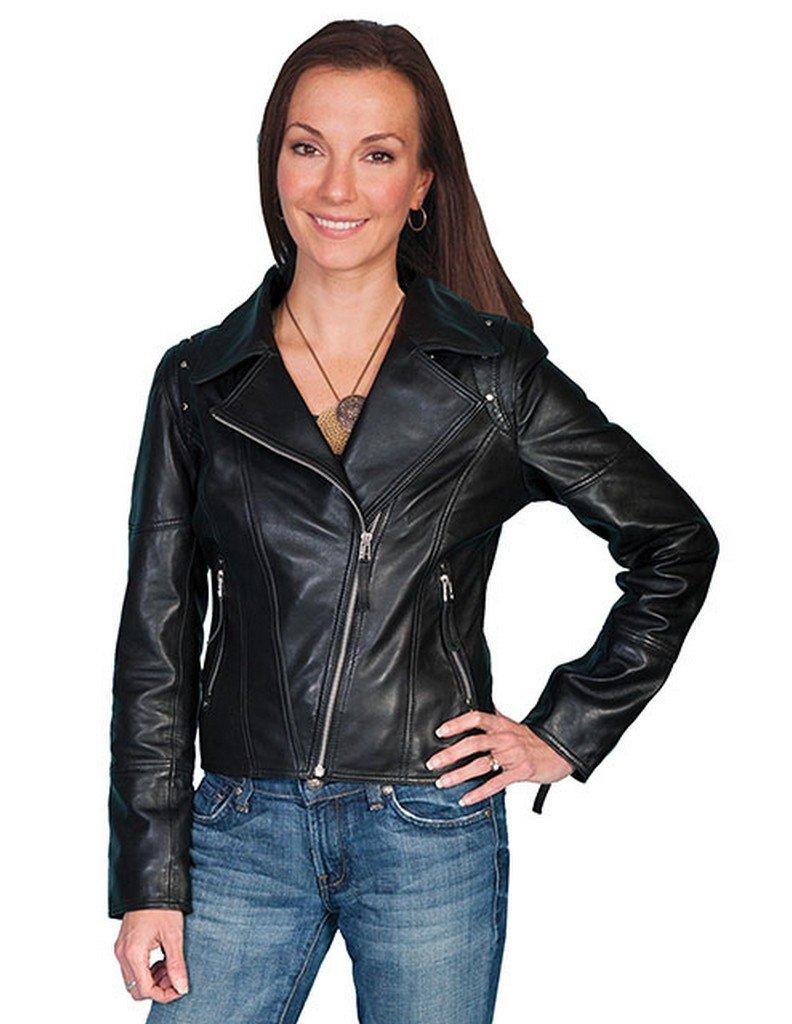 Scully Women's Dyed Lamb Motorcycle Jacket Black Medium