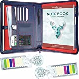 Wundermax Portfolio Padfolio/Leather Portfolio Zippered Closure - Bonus Bookmarks & Writing Pad - Tablet Sleeve - Professional Business Gift (Blue)