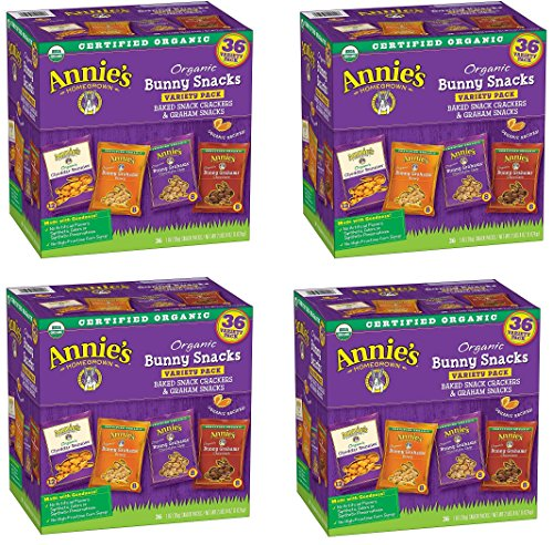 Annies Organic Variety Pack, Cheddar Bunnies and Bunny Graham Crackers Snack Packs, 36 Pouches, 1 oz Each bganaF, 4 Pack by Annie's Homegrown
