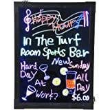 """AGPtek® 16""""x12"""" Flashing Illuminated Erasable Neon LED Message Writing Board Menu Sign (7 Colors of RGB 28 Flashing-Mode Remote Control + Metal Chain for Hanging up + Washable Eraser Cloth)"""