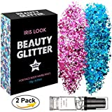 HITOP Body Glitter, 2 Pack Festival Glitter and 1 Free Fix Gel, Rose Violet and Sky Blue Chunky Glitter for Face Nail Hair Eyes Lips or Any Place of Your Body, Beauty Makeup Decoration- DIY Cosmetic