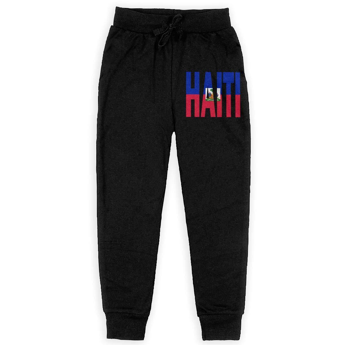 WYZVK22 Haiti Flag Soft//Cozy Sweatpants Boys Athletic Pants Teenager Boys