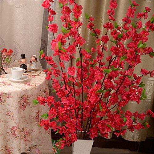 Erovy 1 PCS 65CM Artificial Cherry Spring Plum Peach Blossom Branch Silk Flower Tree Decor [Rose Red] -