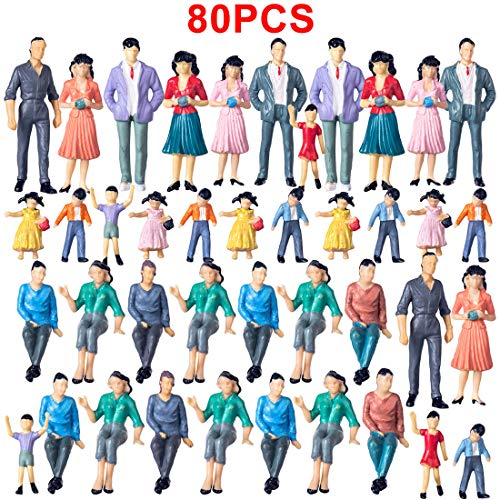 - Yamix 80Pcs Model Trains Architectural 1:25 Scale Painted Figures G Scale Sitting and Standing People for Model Railway Trains Garden Railroad