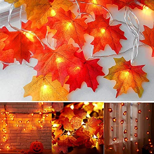 Antrixus Christmas LED String Lights, 40 LEDs 10foot Light String Battery Powered with Remote Fall Party Autumn Decoration Indoor Fireplace Mantel Xmas Decor Ornaments Maple Lights