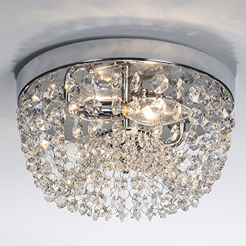 Glanzhaus Small Style 9.84' Chrome Finish Clear Cystal Chandelier, 2-Light Flush Mount Ceiling Light For Hallway Bar Kitchen Dining Room Kids Room