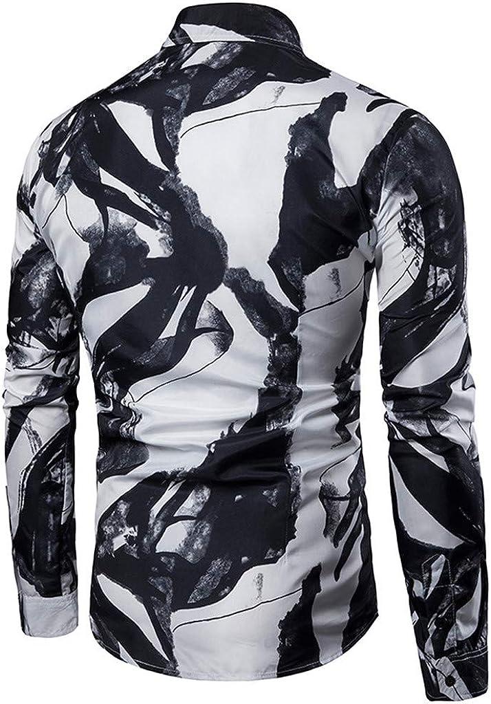 TIFIY Automne-Hiver Homme Chemise Mode Imprim/é de Fleurs Col Rabattu Button Slim Fit Chemisier Manches Longues Casual M-3XL