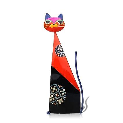 Amazon Com Tooarts Fortune Cat Metal Sculpture Red Metal Statue