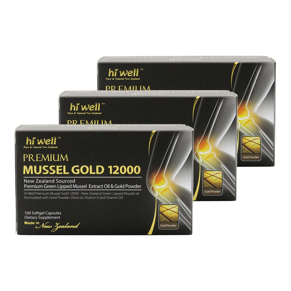 Hi Well Mussel Gold 12000mg 100 Capsules New Zealand Green Lipped Mussel Extract Oil & Gold Powder, Vitamin E and Vitamin D3 Joint Health Support & Mobility (Pack of 3)