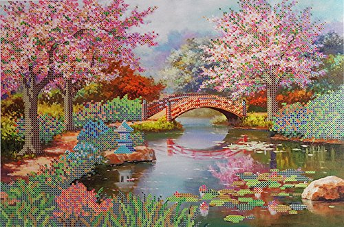 - Japanese Garden Bead embrpodery kit Spring Landscape Needlepoint Handcraft Tapestry Kits DIY Wall Decor Beaded Picture Cross Stitch Bordado