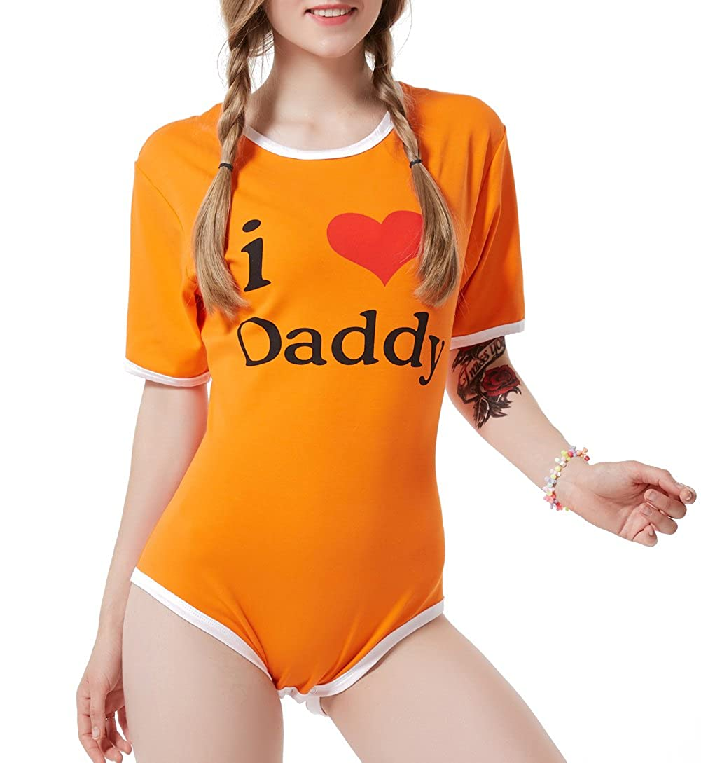 LittleLittle Adult Baby Onesie ABDL Snap Crotch Romper Onesie, I Love Daddy Orange LittlelLittle