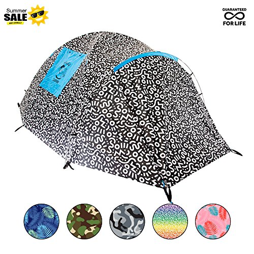 Chillbo Cabbins 2 Person Tent with Cool Patterns Ultimate Camping Gear for Backpacking Car Camping Music Festivals Family Camping Tents for Camping Sleeps 2 3