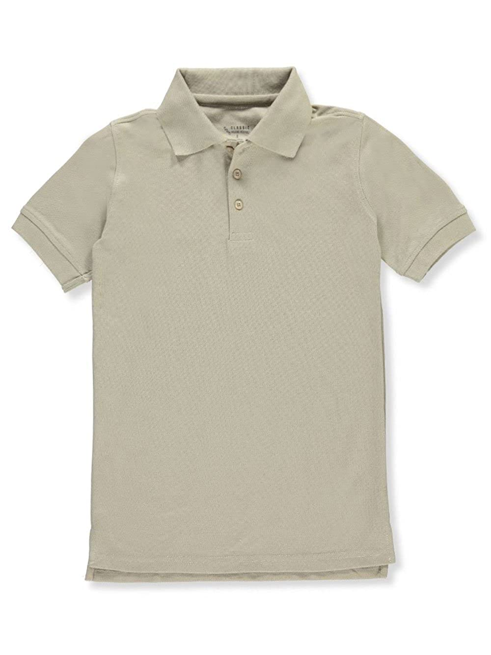 Classic School Uniform Little Boys' S/S Pique Polo - Khaki, 5
