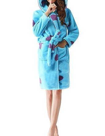 Dramaticbuying Women's Hooded Robe Short Long Sleeve Fleece Adult Animal Bathrobe, Light Blue, Small