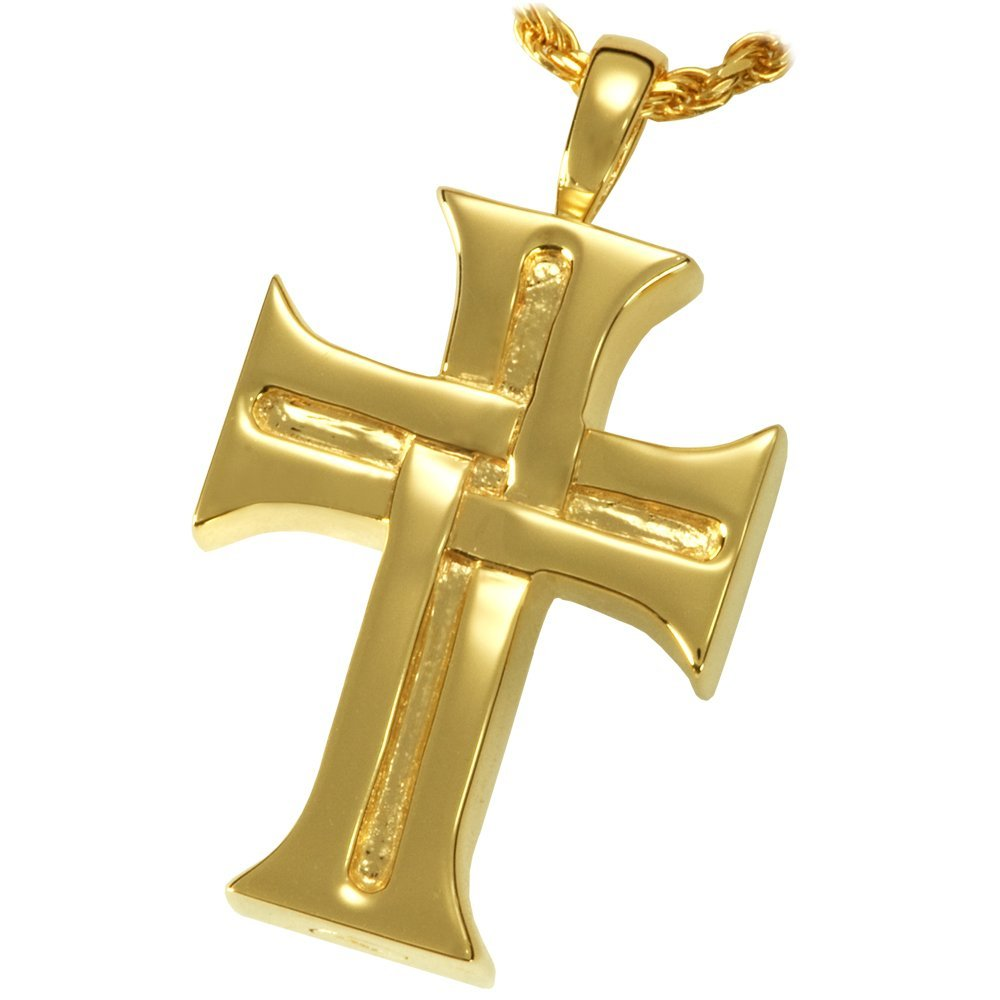Memorial Gallery MG-3157gp Men's Cross 14K Gold/Sterling Silver Plating Cremation Pet Jewelry by Memorial Gallery