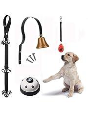 Dog Doorbell, EYLEER Premium Pet Dog Cat Hanging Door Bell + Dog Brass Doorbell + Pet Press Bell + Dog Training Clicker for Pet Dog Cat Potty Training Housetraining Houserbreaking and More