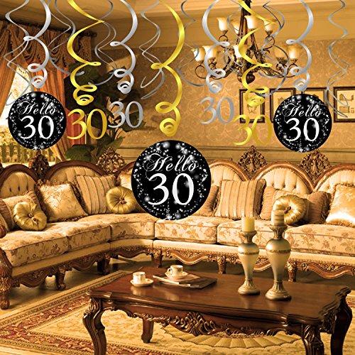 Konsait 30th Birthday Decoration Hanging Swirl 15 Counts Happy