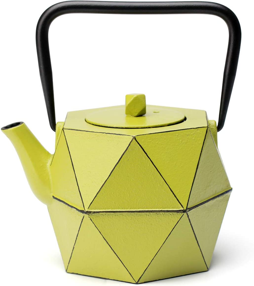 Tea Kettle, TOPTIER Japanese Cast Iron Teapot with Stainless Steel Infuser, Cast Iron Tea Kettle Stovetop Safe, Diamond Design Teapot Coated with Enameled Interior for 30 oz (900 ml), Avocado