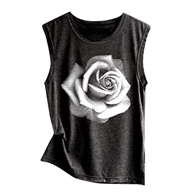 Women's Sleeveless Crewneck Tank Tops Ladies Summer Floral Printed Shirt Casual Vest Loose Blouse Tops at Women's Clothing store