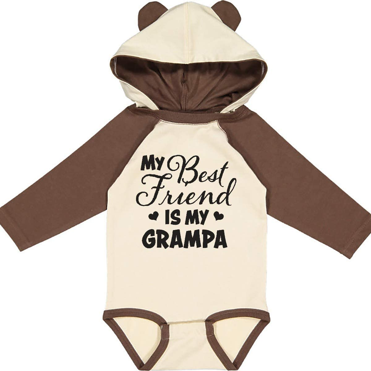 inktastic My Best Friend is My Grampa with Hearts Long Sleeve Creeper