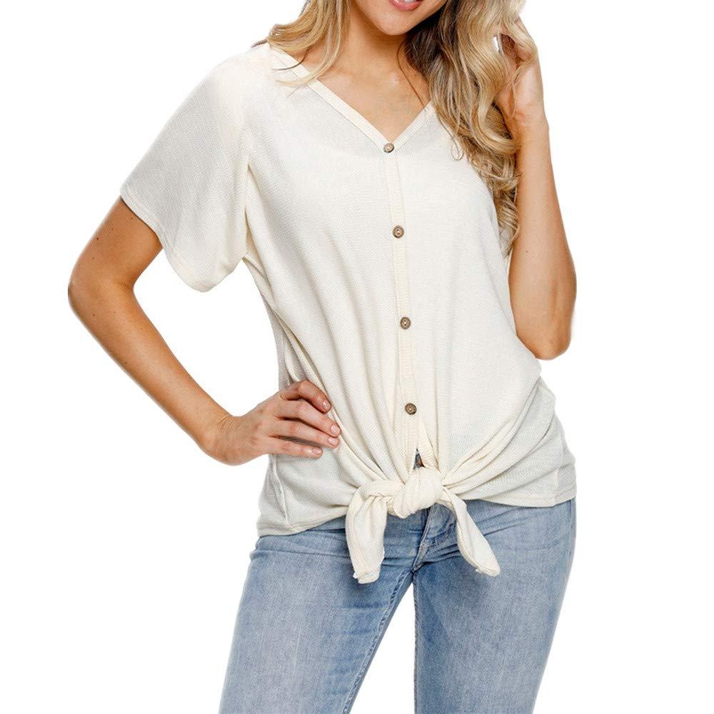 Camisetas Top de Manga Corta para Mujer Camisas con Escote ...